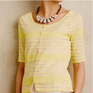 Anthropologie Moth Yellow/Nude Stripe Cardigan